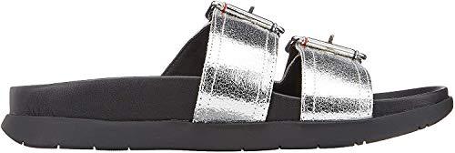 Tommy Hilfiger Damen Crackle Metallic Footbed Slipper-Sandale, Silber (Silver 000),40 EU