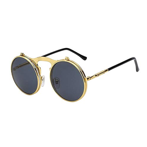 Lidahaotin Mode Flip Up Steampunk-Sonnenbrille-Männer runde Weinlese-Männer Sunglass Driving Fahren Sonnenbrille Piloten Brille Sunproof UV-Schutz Sonnenbrille Outdoor-Retro Sonnenbrille
