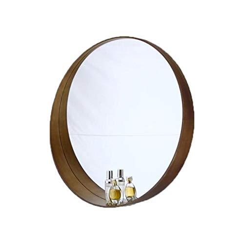 Wandspiegel Massivholz rund mit Ablage Durchmesser 50/60 / 70cm Bad/Ankleidezimmer / Wohnzimmer Praktischer Creative Nussbaum Spiegel