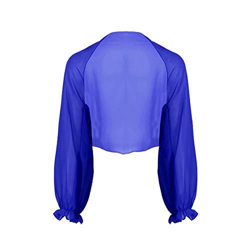 YiZYiF Chal de Boda Fiesta para Mujer Estola de Gasa Suave Bolero Chales para Vestido de Novia Ceremonia Dama de Honor Capa de Hombro Manga Larga Azul Talla Única