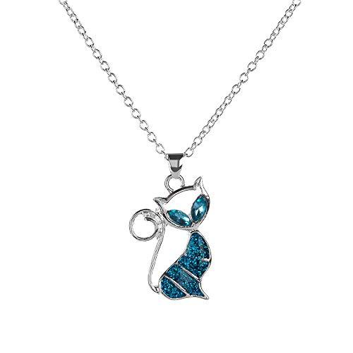 DYKJ 1 Unid Lindo Gato Colgante Collar de Ópalo Azul Joyería Animal de Mujer para Mujer Collar de Cristal Brillante de Moda Collares Mujer Colar