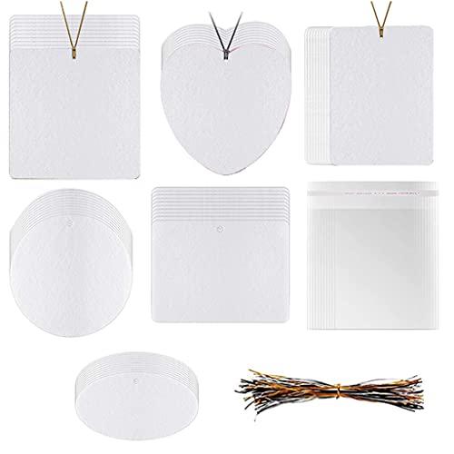 Laspi Llavero: 60 piezas de fieltro aromático, 6 formas de amigos, familia, herramienta para coche, armario, dormitorio, ambientador, hojas