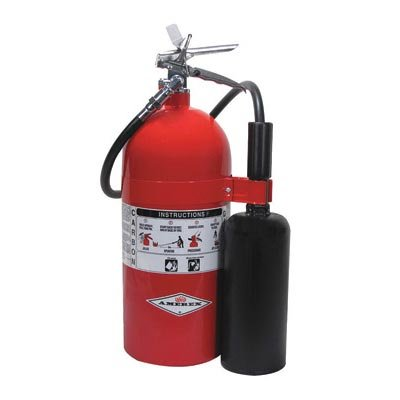 Amerex 10 Pound Stored Pressure Carbon Dioxide 10-B:C Fire Extinguisher For Class B And C Fires With Chrome Plated Brass Valve, Wall Bracket, Hose And Horn