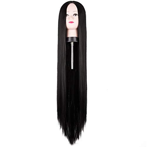 QPYHIRS Schwarze Perücke 100 cm / 40 Zoll synthetische hitzebeständige Faser lange Halloween Karneval Kostüm Cos-Play gerade Frauen Haar