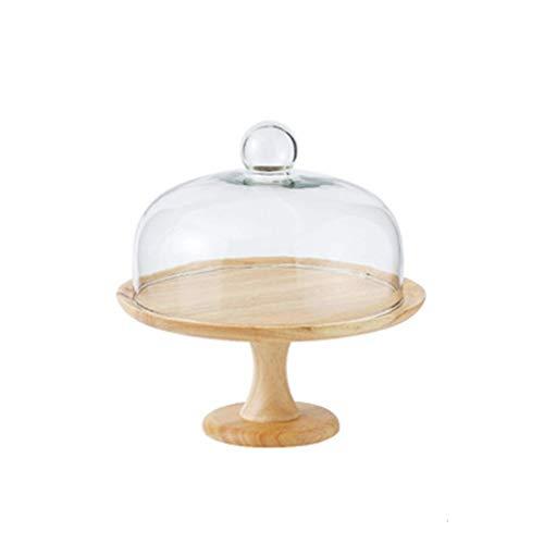 Plato de carne para tartas con tapa, cúpula de cristal para restaurante familiar, fruta, bóveda de pan y bocadillos, plato de ensalada (tamaño: 25 x 28 cm)