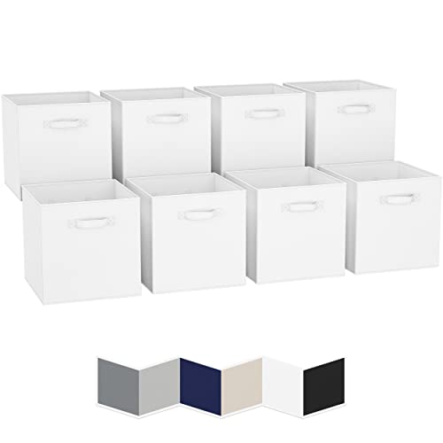 13x13 Large Storage Cubes (Set of 8). Fabric Storage Bins with Dual Handles   Cube Storage Bins for Home and Office   Foldable Cube Baskets For Shelf...