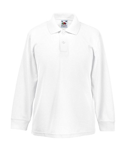 Fruit Of The Loom Kinder Poloshirt 65/35 Langarm 152,White