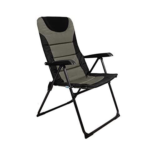 Homecall - Silla de camping plegable acolchada con respaldo ajustable (verde/negro)