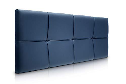 SUENOSZZZ-ESPECIALISTAS DEL DESCANSO Cabecero de Cama Square tapizado en Polipiel para Camas de 135 (145 x 57 cm) Polipiel Azul