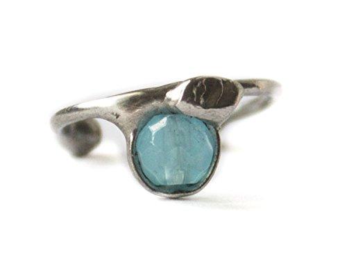Ohrring Ohrklemme kleine Creole Silber mit blauem Quarz 121S-R für das rechte Ohr