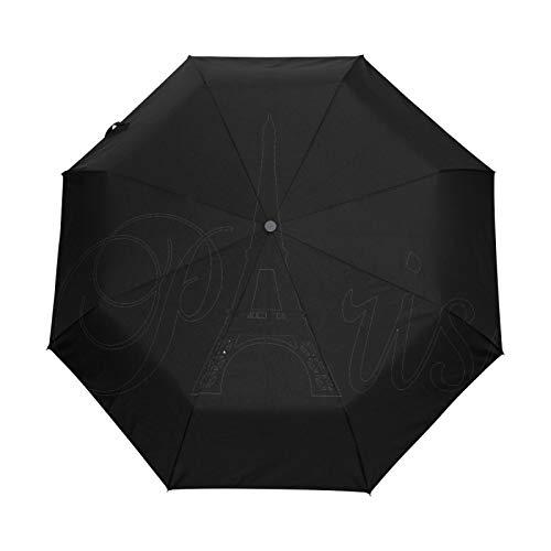 Paraguas de Viaje pequeño a Prueba de Viento al Aire Libre Lluvia Sol UV Auto Compacto 3 Pliegues Cubierta de Paraguas - Toalla de París