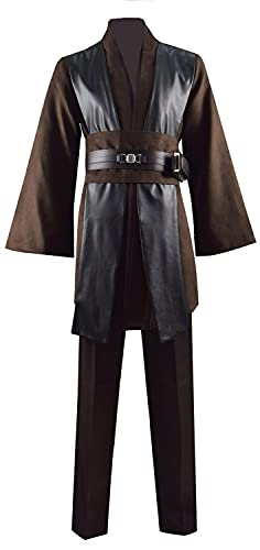 Anakin Skywalker Jedi Uniform Hooded Robe Knight Suits Cosplay Costume Halloween Cloak Tunic Adult Men Outfits (Medium, Anakin Without Cloak)
