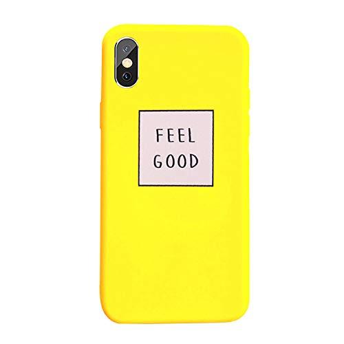 Tybaker Hoes voor iPhone 7 8 Plus Case Cover telefoonhoes zacht silicone mat case ultradunne beschermhoes krasbestendig bumper tas eenvoudige persoonlijkheid Engelse schaal voor iPhone 7 Plus Feel Good