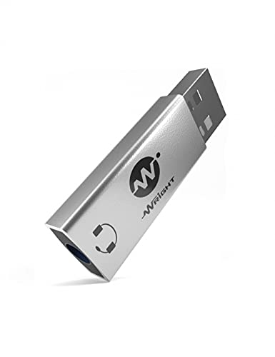 WRIGHT USB External Sound Card Audio Adapter 2 in 1 USB to 3.5mm Jack Audio Adapter Aluminum Stereo Sound Card for Windows Mac PS5 Linux PC Laptops Desktops connect any TRRS pin headphone with mic aux to usb and usb to aux converter
