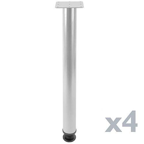 PrimeMatik - Runde Tischbeine für Schreibtische Schränke Möbel aus grau Stahl 72-75 cm 4-Pack