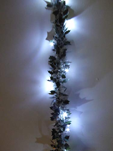 UK-Gardens 2m Prelit Holly Tinsel Garland - Battery Operated - Gold, Red, White. (White)
