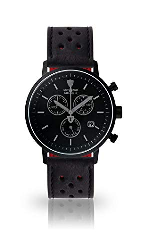 DETOMSAO Milano Herren-Armbanduhr Chronograph Aanalog Quarz schwarzes Edelstahlgehäuse schwarzes Ziffernblatt - Jetzt mit 5 Jahre Herstellergarantie