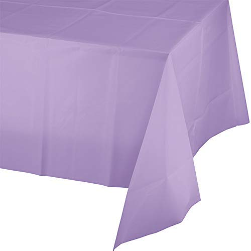Mountclear 12-Pack Disposable Plastic Tablecloths - 54 x 108 Inch Size Table Cover (Lavender)