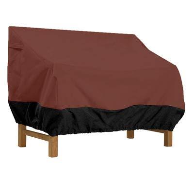 Abdeckung für Gartenbank 2 Sitzer aus 210D Oxford Stoff, Reißfest Wasserdicht Anti-UV, Brown,147 * 83 * 79cm
