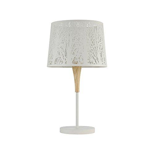 Lampe à poser, lampe de table, lampe de chevet, style moderne, Art Deco, Armature en Métal couleur blanc evec du bois, Abat-jour en metal couleur blanc, ampoule non incluse, 40 W E27 220V -240V