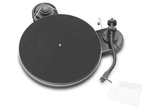 Pro-Ject RPM 1.3 Genie, Audiophiler Plattenspieler mit 2M Red und Abdeckhaube, Piano Schwarz