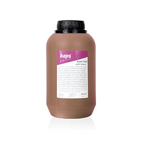 Kaps Tinte para Cuero Natural y Sintético y Textiles, Super Color, 82 Colores Estándar y Metálicos, Bote Grande 500 ml - 16.9 fl. oz. (157 - cuero)