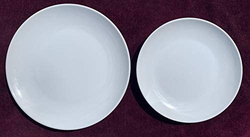 Littlebird4 3pcs 11-Inch + 3pcs 9-Inch Melamine Dinner Plates for Everyday Use Bright White