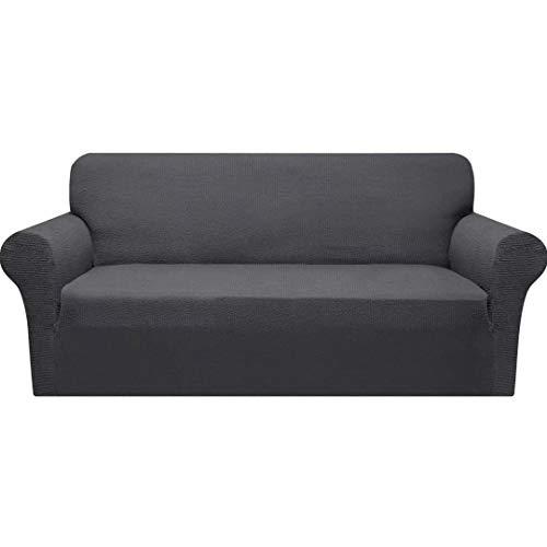 Granbest Dicke Sofabezug 3 Siter Stretch und Stilvolle Couchbezug Möbelbezüge Anti Rutsch Kratzfest Sofahusse Jacquard Spandex Stoff (3 Sitzer, Grau)