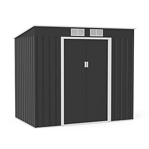 BillyOh Cargo Dark Grey Hot-Dipped Galvanized Pent Metal Garden Storage Shed (7x4)