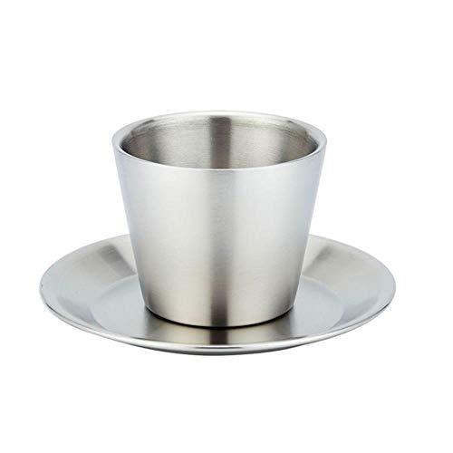 ABQ Espresso-Tassen, doppelwandig, mit Tablett, Edelstahl, Espressotassen-Set, isolierte Kaffeetassen Ein Set mit Löffel.
