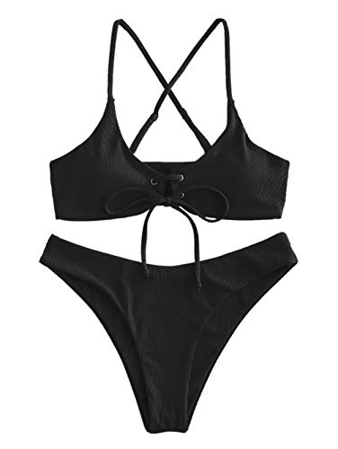 ZAFUL Damen Criss-Cross Sommer Beachwear Bademode Schwarz M