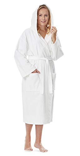 Arus Women's Classic Hooded Bathrobe Turkish Cotton Terry Cloth Robe (L/XL,White)