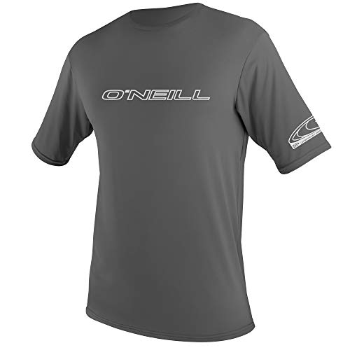 O'Neill Wetsuits Men's Basic Skins Short Sleeve Sun Shirt Rash Vest, Graphite, S