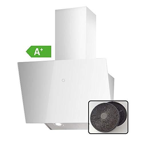 VLANO MELIA Plus EEK A+ Kopf-freie Dunstabzugshaube Glas Design/Touch Control/ECO LED/Extra leiser Brushless Motor/Abluft/Umluft (Melia Plus 60 cm Aktivkohlefilter Set, weiß)