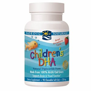 Nordic Naturals Children's Dha, 250Mg, Chewable Soft Gels, Strawberry 90 Ea
