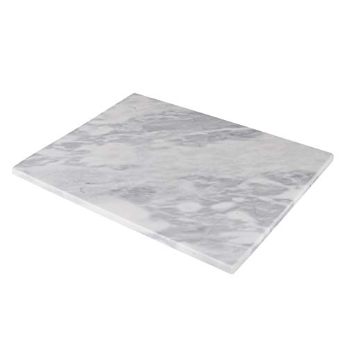 Homeries Marble Pastry Board (20 x 16 Inches) - Marble Serving Tray for Cheese, Pastries, Bread - Large White Fancy Marble Slab for Cake Display Marble – Sleek Design & Non Slip Rubber Feet