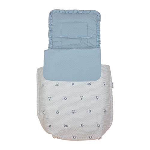 Rosy Fuentes - Saco para Capazo - 11 x 50 x 60 cm - Saco para Capazo Universal - Saco Carrito Bebé - Fabricado en Piqué - Bonito Diseño - Resistente y Duradero - Color Blanco/Celeste Empolvado
