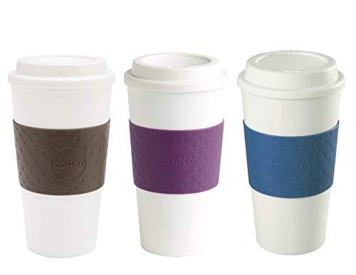 Copco Acadia Reusable To Go Mug, 16 ounce, 3 Pack (Brown, Plum, Blue)