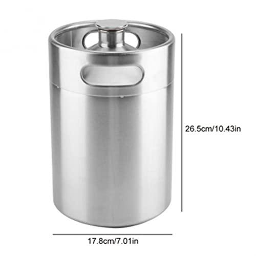 2L / 3.6L / 5L beczka piwa mini beczki stylu hardler dostawy piwa ze stali nierdzewnej posiada piwo podwójne uchwyty do domowego kempingu piknik (Color : 5L)