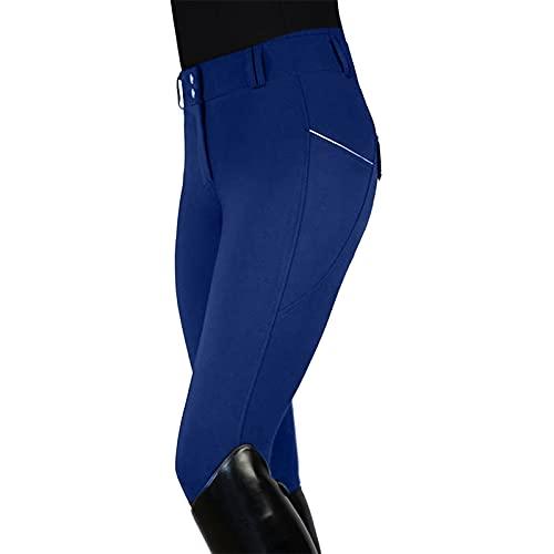 PANGF Damen Reithose Hoher Taille mit Silikonvollbesatz und Reißverschlusstaschen, Eng dehnen Damen-Reithose für Sport, Für Reitschule Reitsport.