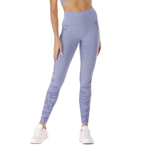 Pantalones de Yoga para Gimnasia sin Costuras para Mujeres Cintura Alta energía Push-ups Celulitis Leggings Camuflaje Fitness Pantalones de Yoga A M
