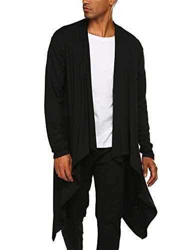 COOFANDY Men's Ruffle Shawl Collar Cardigan Sleeveless Open Front Vest Lightweight Cotton Long Length Drape Cape (Black(Long Sleeve), Large)