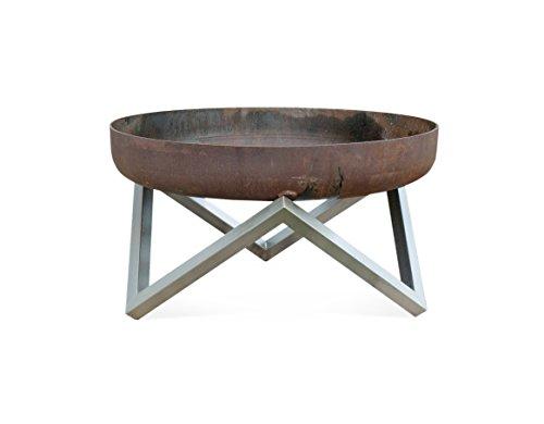 Rust & Stainless Steel Modern Outdoor Patio Fire Pit MEMEL (Medium)