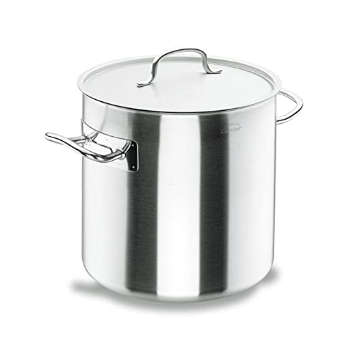 LACOR - 50132 - Olla Alta Acero Inoxidable, Incluye Tapa, Apta para todo tipo de Cocinas, Acabado Mate, Capacidad: 25.7 L, Altura: 32 cm, Diámetro: 32 cm, Plata
