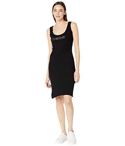 bebe Rib Tank Logo Midi Dress Black SM