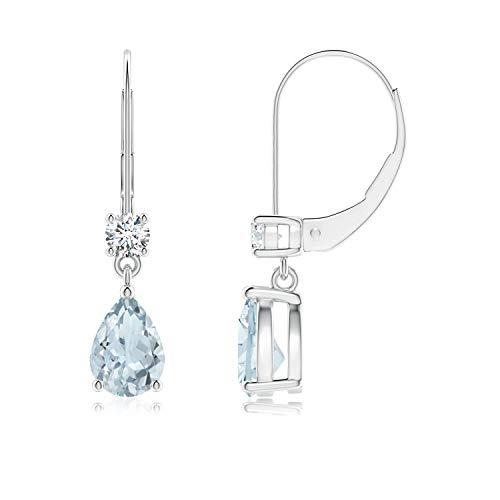 Orecchini pendenti con acquamarina a pera, chiusura a monachella, con diamante (7 x 5 mm acquamarina) e Oro bianco, cod. ANG-E-SE0966AQD-WG-A-7x5