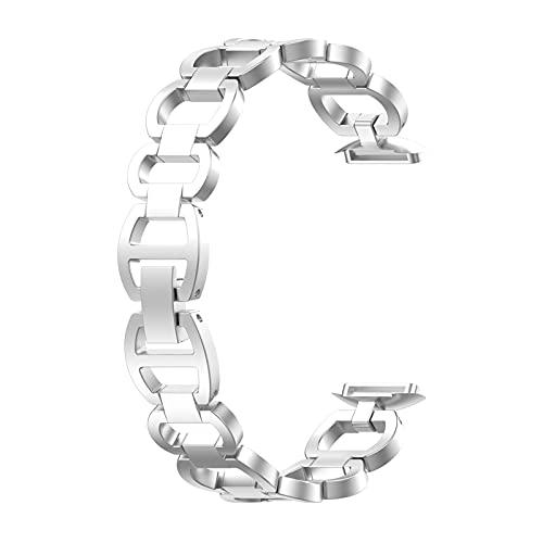 Correa de Repuesto de Metal Compatible con Fitbit Luxe, Correa de Reloj de Pulsera Inteligente, Correas de Cadena de Pulsera de Acero Inoxidable de Metal clásico