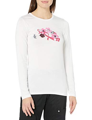 WonderWink Damen Silky Novelty Tee Krankenhauskleidung, Oberteil, Strengthen in Pink Print EL, Mittel