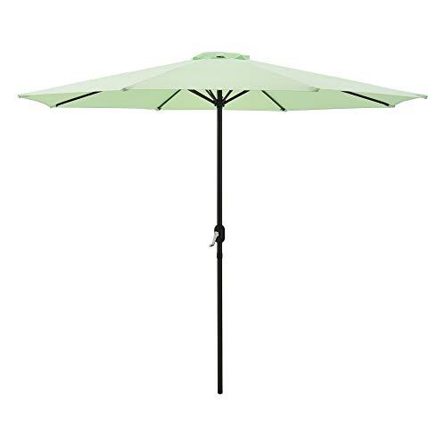 Sombrilla Sonn 300 x 230 cm con Manivela para Jardín Patio Terraza Balcón Repelente al Agua Parasol Vara de Acero Verde Pastel