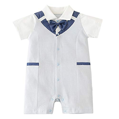 Famuka Bebé Niños Monos Ropa de una pieza Ropa de abrigo Abrigos verano Manga corta ropa (66, Azul claro)